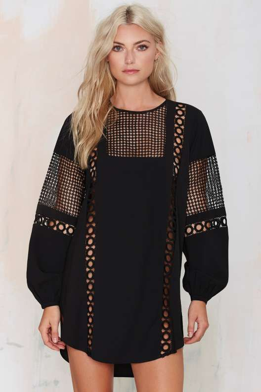 Bridgette Crochet Shift Dress - Night Fever
