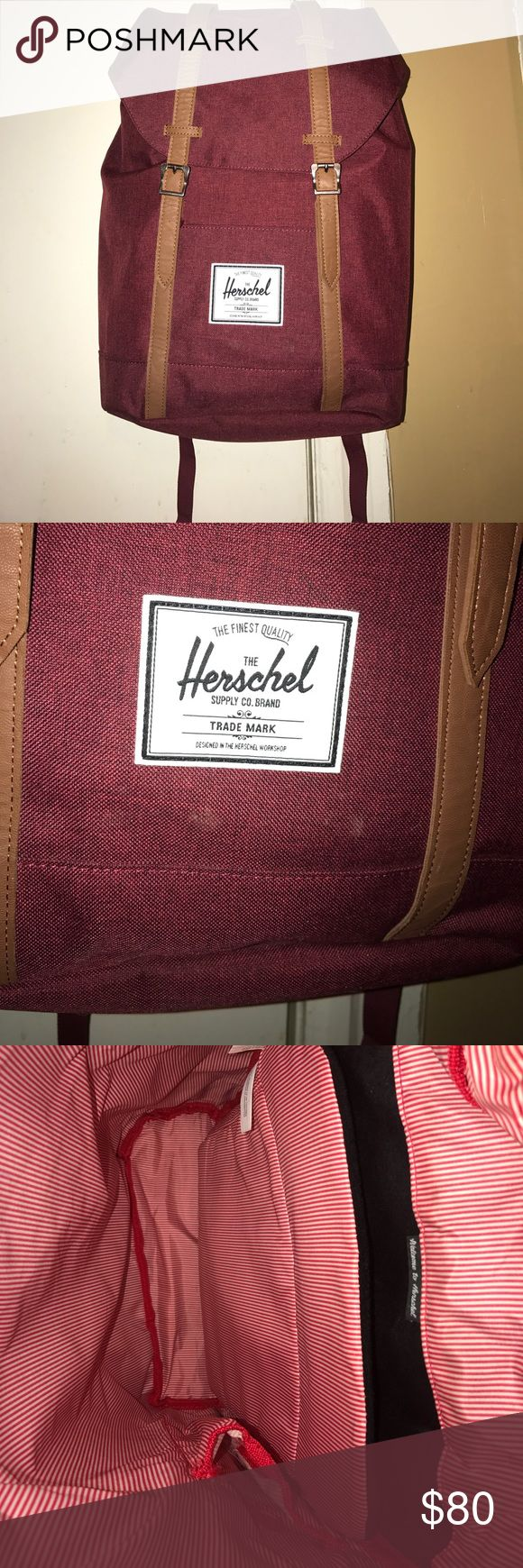 Burgundy Herschel backpack It has a laptop case. It's really deep. And can hold a a lot. In perfect condition worn a couple time but there is no damage at all to the bag. The price is firm because poshmark takes a percentage. Herschel Supply Company Bags Backpacks