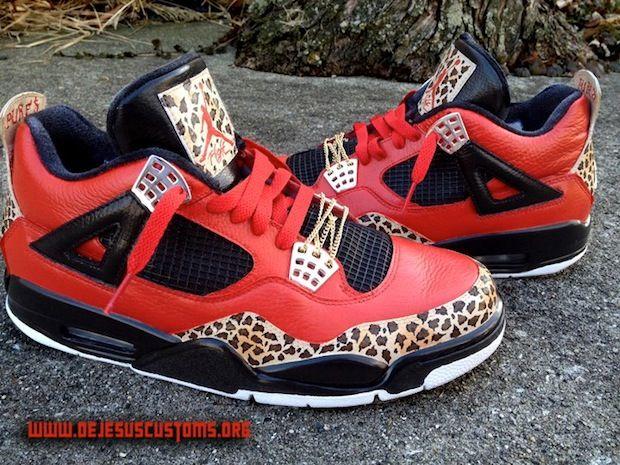 Custom Trinidad James Air Jordan IV Retro customized by DeJesus Customs. #cheetah #customshoes #nike #airjordans