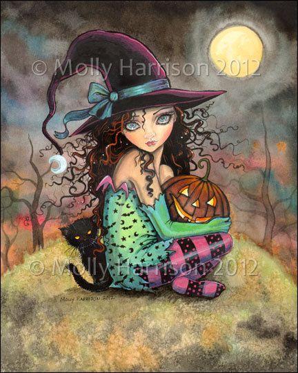 Halloween Hill by Molly Harrison, jack-o-lantern, black cat, witch, art, illustration
