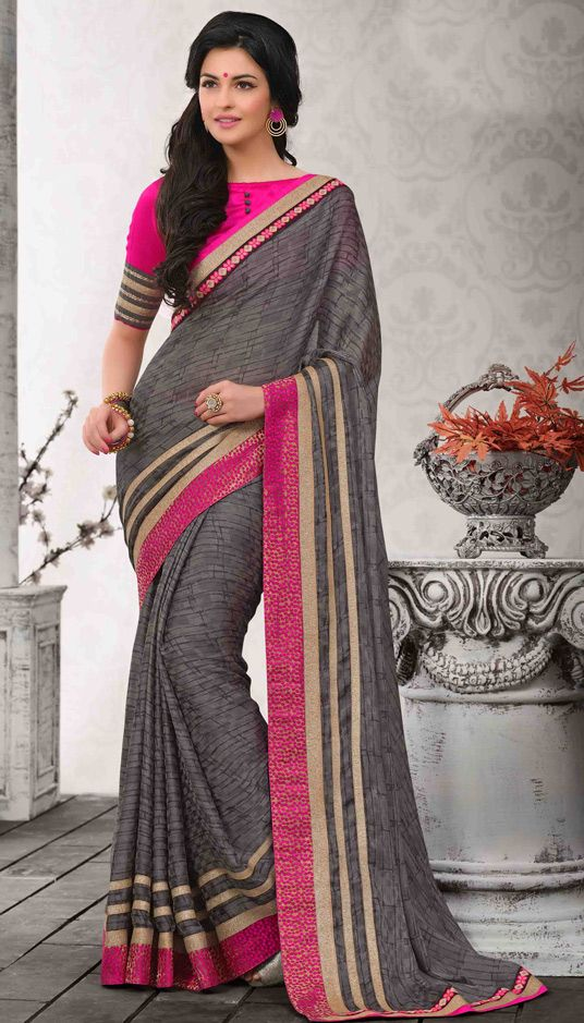 USD 44.04 Gray Chiffon Satin Party Wear Saree 47215