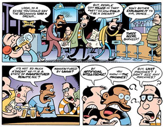 """Case de la bande dessinée """"Get it ?"""" de Peter Bagge. Cette bd était une parmi les 25 qui ont été commandées pour la page d'accueil de Matrix (1999)."""