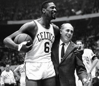 "Bill Russell and Red Auerbach ""The idea is not to block every shot. The idea is to make your opponent believe that you might block every shot."" -Bill Russell..... ""The best way to forget ones self is to look at the world with attention and love."" -Red Auerbach"