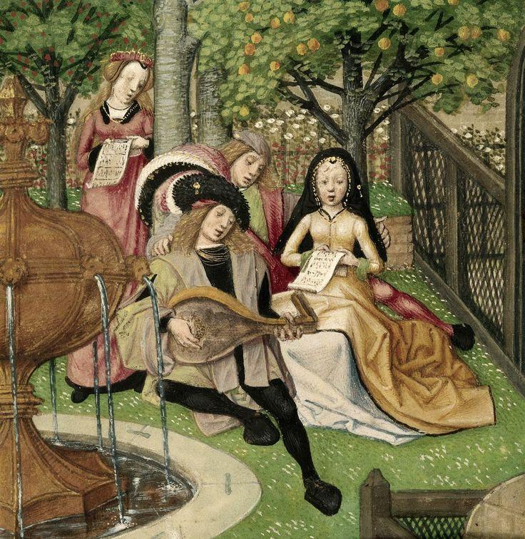 The Garden of Pleasure. 15th C.  Harley 4425 British library#MedievalJousting #JustJoustIt