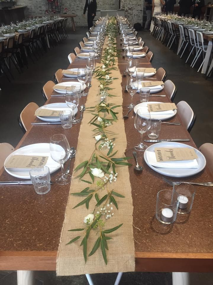 Hessian table runner wedding industrial table centrepiece