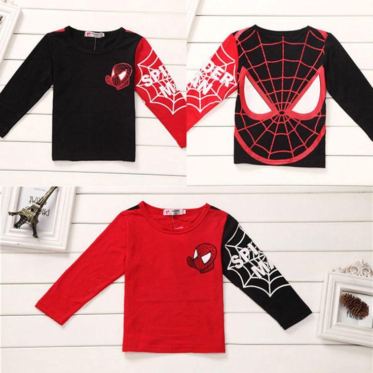 Baby boys t shirt 2016 cartoon SpiderMan 2016 autumn boys baby t-shirts 2016 Long sleeve baby t shirt for boys kids cartoon tops