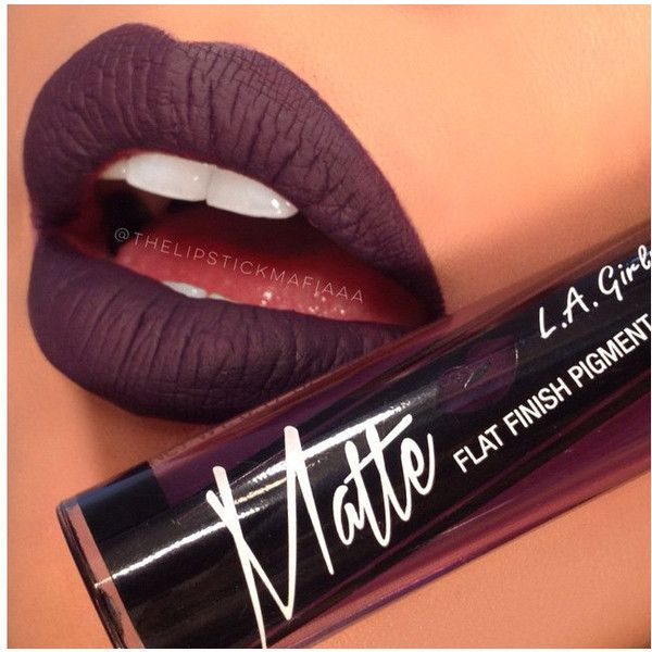 LA GIRL MATTE LIQUID LIPSTICK – Fiebiger Shoes (£7.32) ❤ liked on Polyvore featuring beauty products, makeup, lip makeup, lipstick, beauty, lips, matte lipstick, black lips makeup, black lipstick and matte finish lipstick