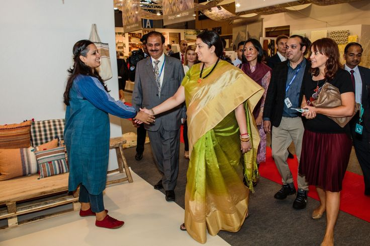 Hon'ble Union Minister of Textiles Smt. Smriti Zubin Irani interacting with Indian exhibitors at The Maison & Objet Exhibition — in Paris, France.