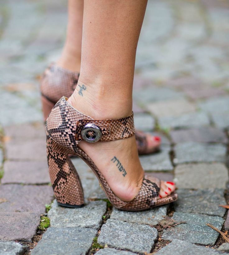 20 Tattoo Ideas from the Street Style Crowd | Snakeskin heels and tattoos—into it.