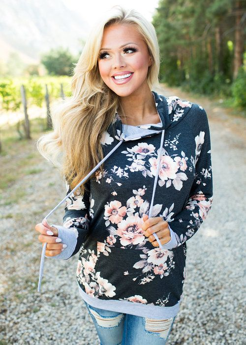 Navy Floral Hoodie! Restock! Boutique, Online Boutique, Women's Boutique, Modern Vintage Boutique, Sweater, Hooded Sweater, Floral Sweater, Long sleeve Sweater Grey Sweater, Cute, Fashion