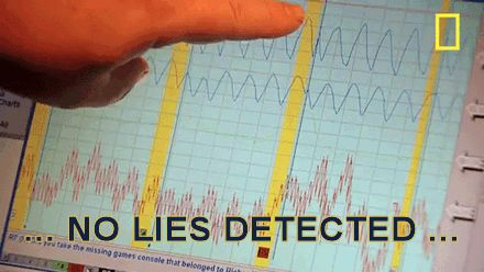 Image of a lie detector test with text reading 'No Lies Detected'.