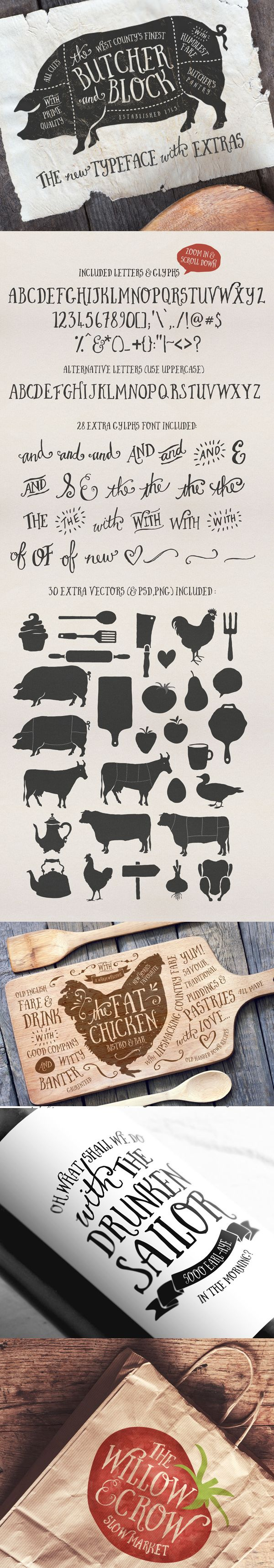 Butcher and Block font + Extras by Nicky Laatz, via Behance