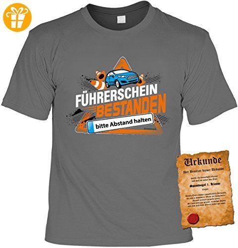 Fun Shirt mit lustigem Motiv: Führerschein bestanden, bitte Abstand halten - Mit gratis Urkunde - Geschenk - Geburtstag - anthrazit (*Partner-Link)