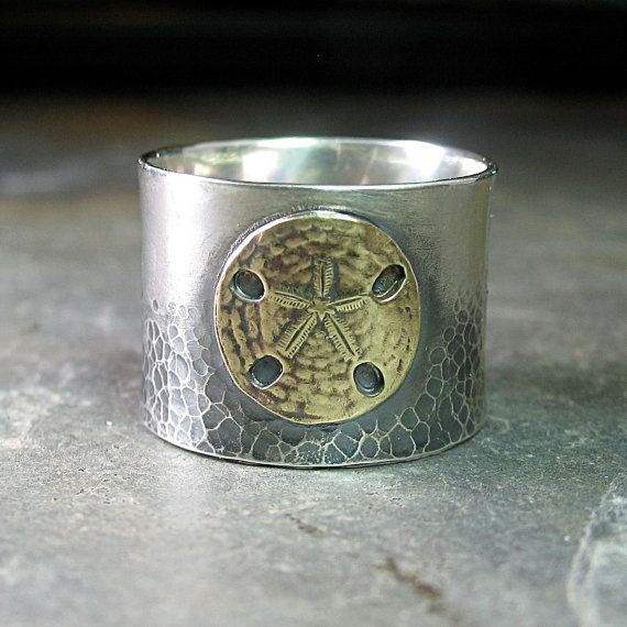 Sterling silver wide band ring brass sand dollar ocean - Day at the Beach