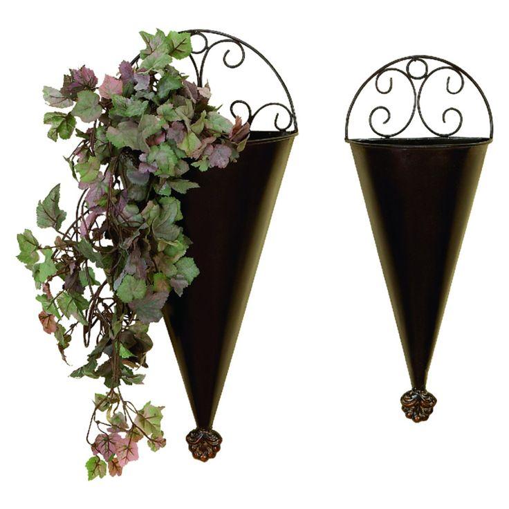 DecMode Metal Wall Planters - Set of 2