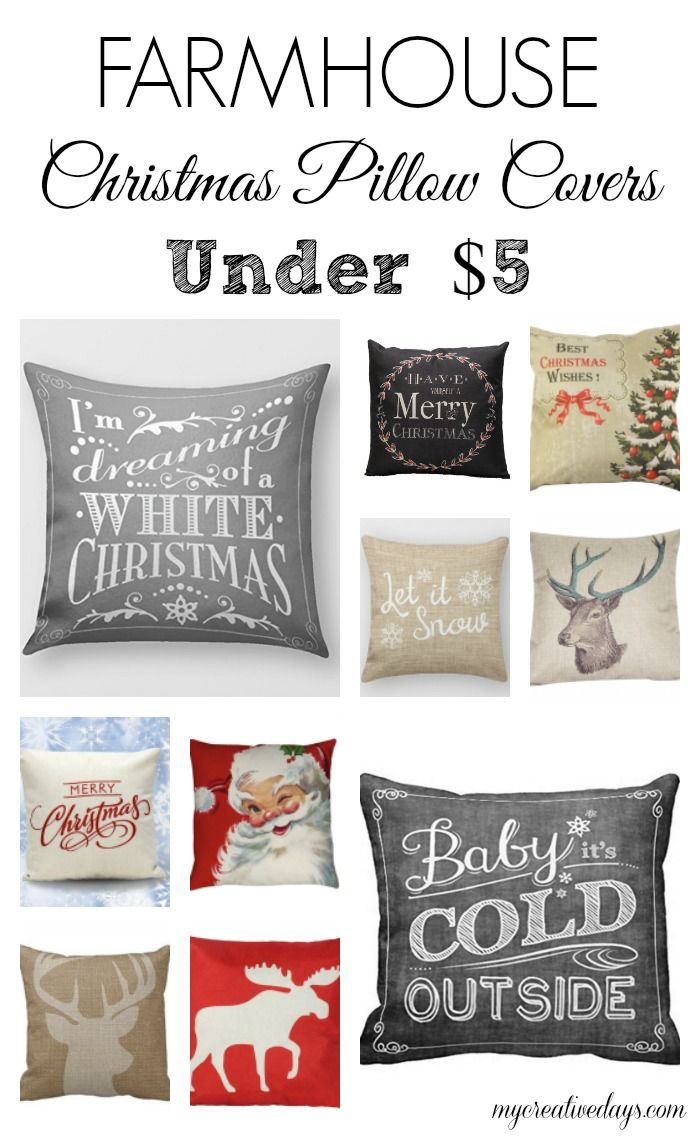 Looking for Christmas pillows covers that fit your farmhouse decor? These Farmhouse Christmas Pillow Covers under $5 are perfect! #afilink
