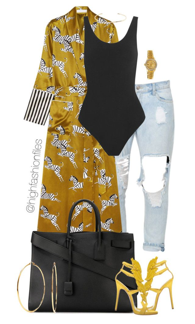 """""""Untitled #2752"""" by highfashionfiles on Polyvore featuring Olivia von Halle, Yummie by Heather Thomson, Giuseppe Zanotti, Yves Saint Laurent, Rolex, Nadri and Jennifer Fisher"""