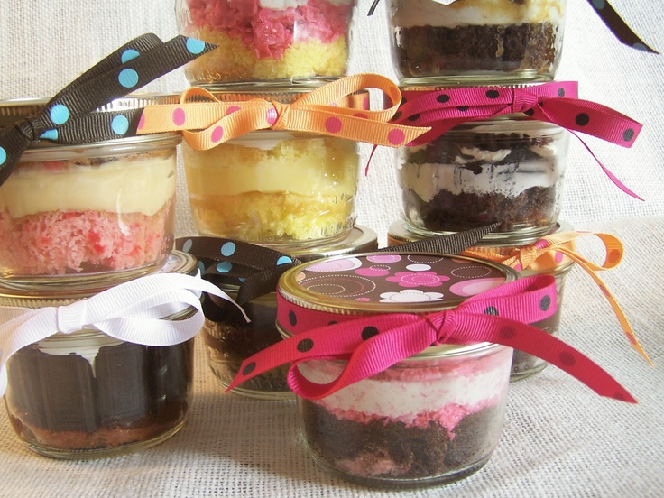 Make a sweet gift by putting cupcakes in a jar with ribbon.