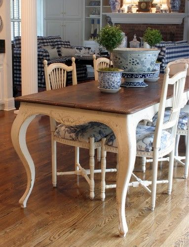 French Country Farmhouse Table with Slanted Scalloped Apron and Curvy Cabriole Legs
