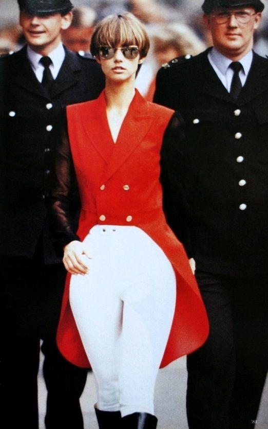 Roberta Chirko wearing a hunting wool red tailcoat by Helen Storey, photos Eddy Kohli. Vogue UK September 1990
