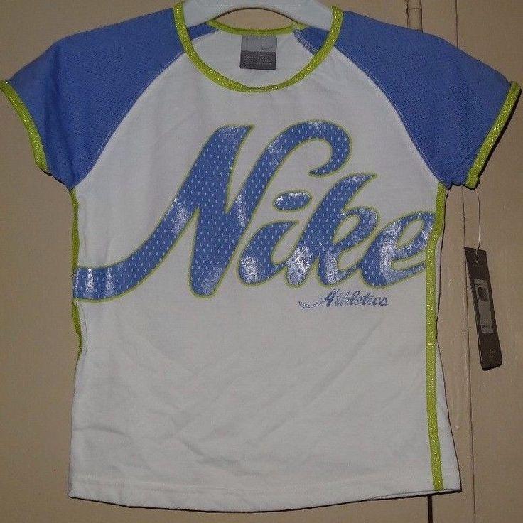 NIKE Top Purple Blue White Neon Green Yellow Girls T Shirt Size 6X NWT New Tags #Nike #TShirt