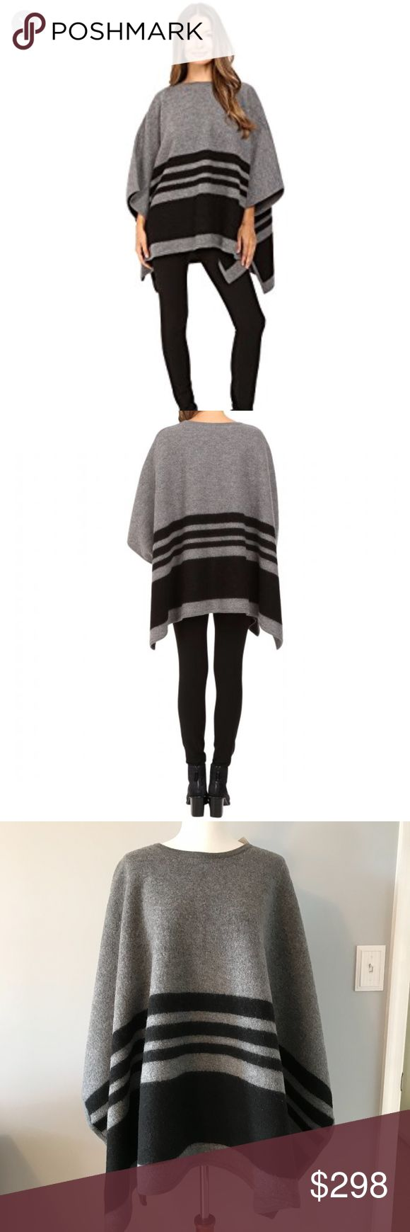 Kate Spade Melange Poncho *NWT* Broome Street poncho in brushed sweater knit - 100% merino wool.  Very versatile, wear with black leggings, jeans or your favorite denim and pair with black booties or boots. kate spade Sweaters Shrugs & Ponchos