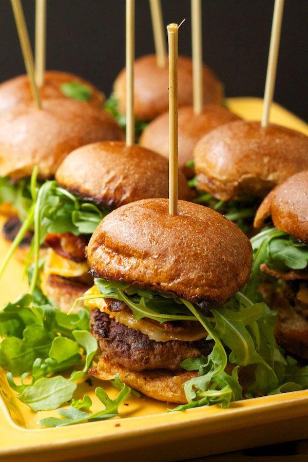 Sliders (oregano, rosemary, and brown mushroom pork burger with jack cheese, applewood bacon, and arugula on wheat bun)