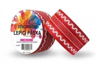 Washi pásky a Duct Tape - DUCT TAPE 4,8cm x 5m - Dekorační lepicí páska - DUCT TAPE-1ks červená krajka - Výtvarné hračky