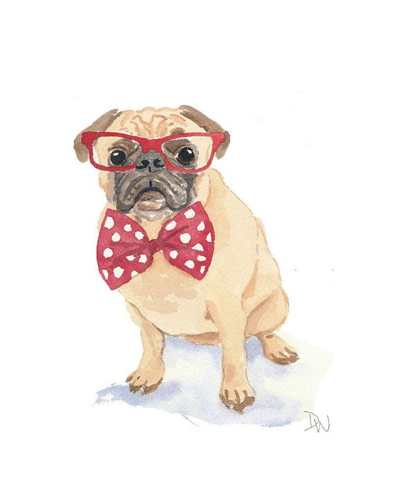 Dog Watercolor - Pug Watercolor, Red Glasses, Bow Tie, Original Painting via Etsy