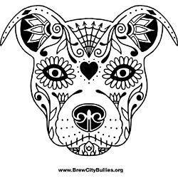 Sugar Skull Pit Bull Coloring Page