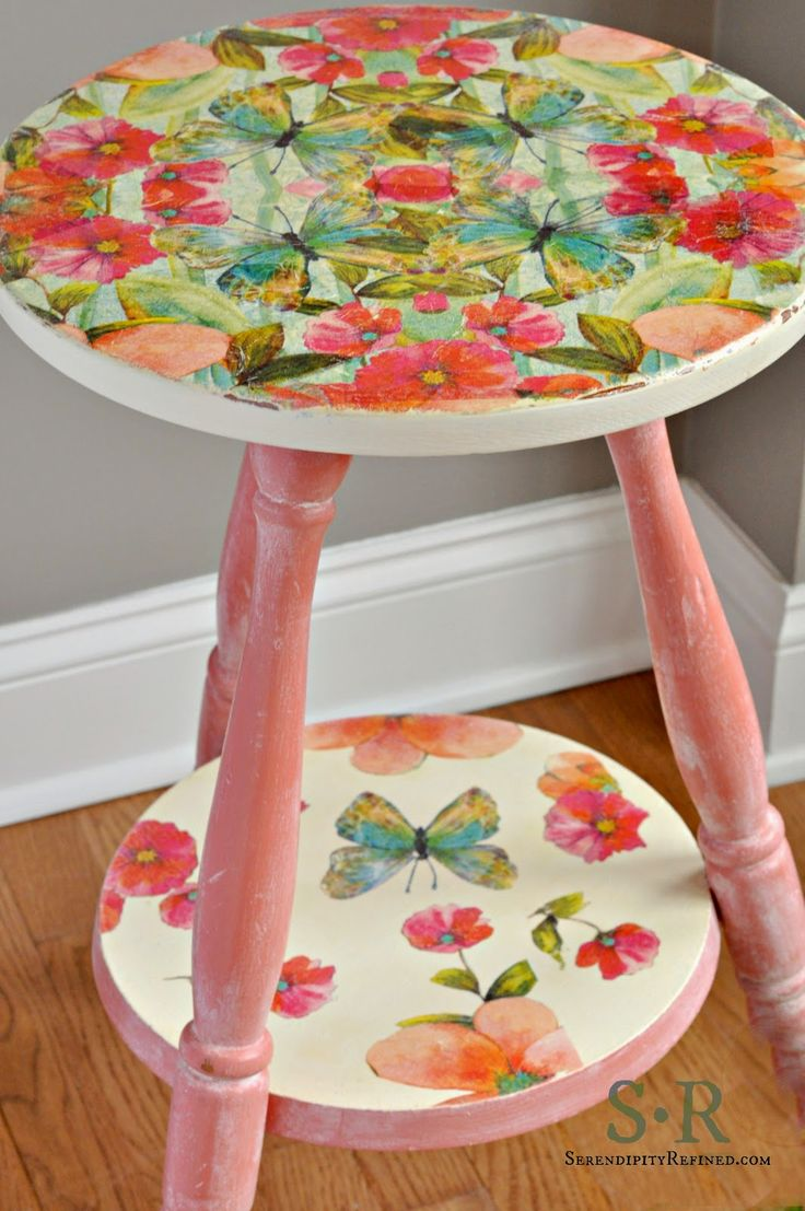 Serendipity Refined Blog: Furniture Makeover Tutorial: Miss Mustard Seed Milk Paint and Paper Napkin Decoupage