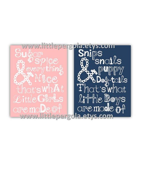 Twins Nursery Art Boy and Girl Art 2 piece 8x10 by LittlePergola, $35.00