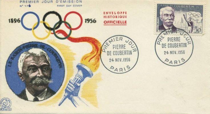Timbre 1956 : PIERRE DE COUBERTIN 1683-1937 RÉNOVATEUR DES JEUX OLYMPIQUES | WikiTimbres