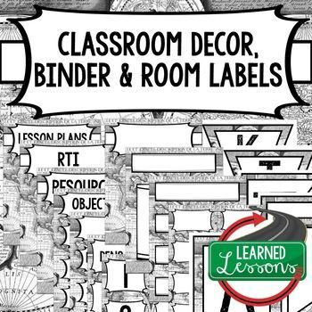 CLASSROOM DECOR, BINDER LABELS, ALL SUBJECTS, World Map Black and White