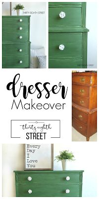 Old Fashioned Milk Paint Co. Painted Green Dresser