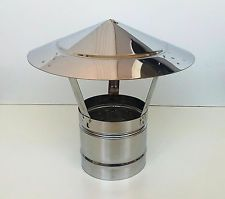 CHIMNEY COWL Stainless Steel Rain Cap Anti Down Draught to fit 3.2-10''/80-250mm