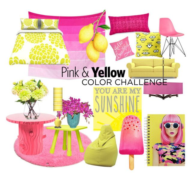 """""""pink & yellow ch"""" by fashioncopasser ❤ liked on Polyvore featuring interior, interiors, interior design, home, home decor, interior decorating, Joybird Furniture, Universal Lighting and Decor, TOM TAILOR and New View"""
