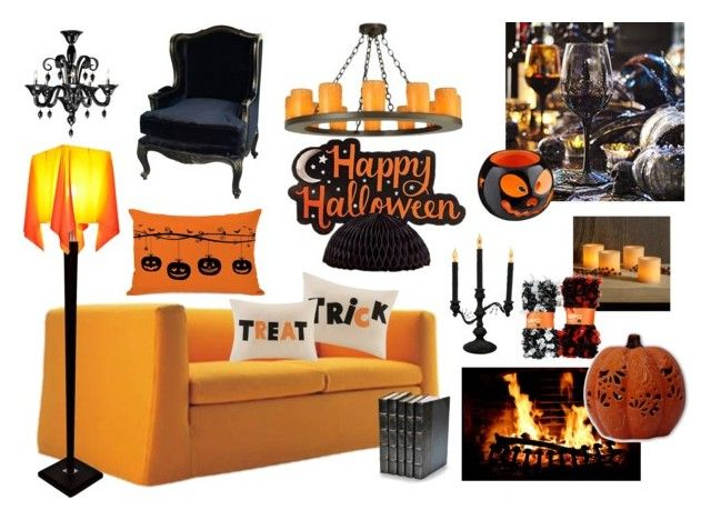 """""""#halloweendecorations"""" by ritty18 on Polyvore featuring interior, interiors, interior design, home, home decor, interior decorating, Sylvania, Madison Park, Restoration Hardware and Meyda"""