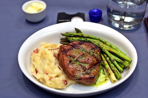 United Airline Meal - Steak, Mashed Potatoes and Asparagus