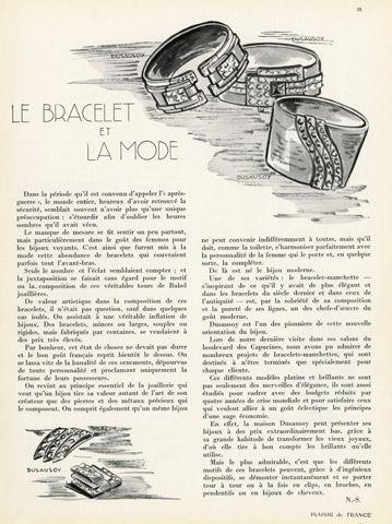 Le Bracelet et la Mode 1934 Dusausoy