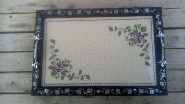 Walnut tray with cross stitched fabric and seashell design, for sale $300