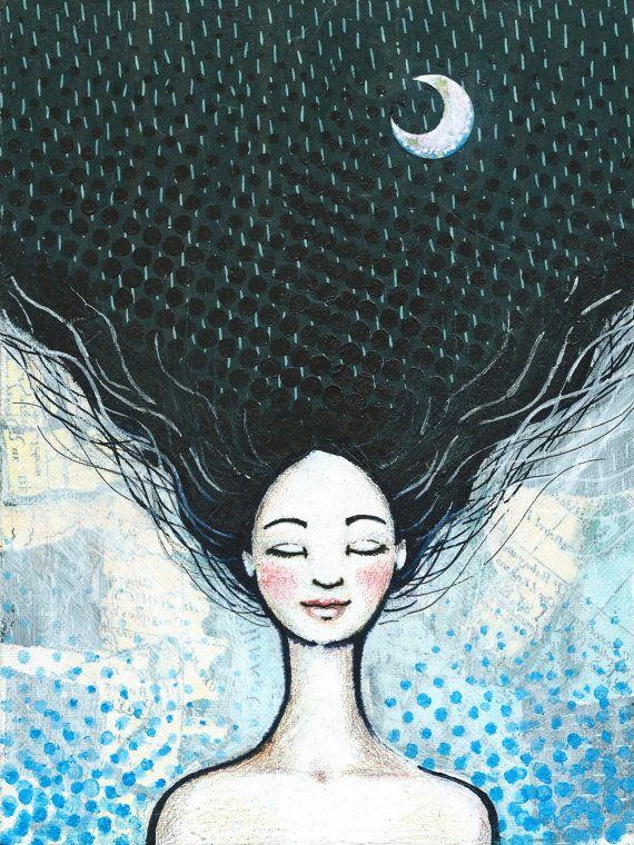 DROMER Art Print  illustratie  Meisje Lang Zwart Haar door moonisme
