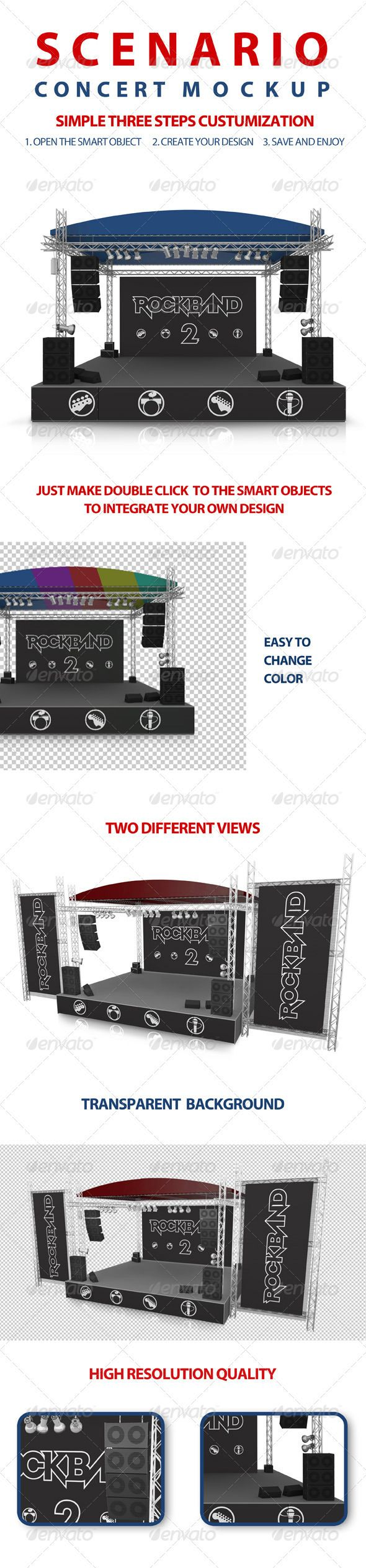 Concert Scenery Mock-up  #GraphicRiver         This mock-up helps you to show your brand or designs in your project this package contains 2 realistic 3D Render.  	 2 different angle views that you can edit very easy with a 3 simple steps.  	 Specific and clear text and video screener documentation.  	 Free support if you need  	 We usually respond to support requests within 48 hours on weekdays, depending on the number of requests in queue.  Others Mockup 	…