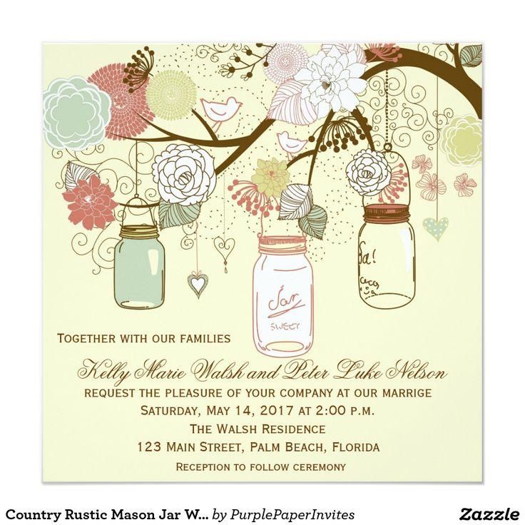 国の素朴なメーソンジャーの結婚式招待状 13.3 スクエアインビテーションカード