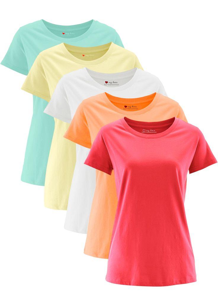 Посмотретьпрямо сейчас:  Удлиненная футболка bpc с окантованным круглым вырезом горловины и короткими рукавами — это превосходная базовая вещь для летнего гардероба. С этой моделью  можно составить множество комбинаций, ее можно носить и отдельно, и вместе с блузкой или жилетом. Футболка продается в комплете из 5 штук. Разнообразие цветовых вариантов удовлетворит любой вкус.
