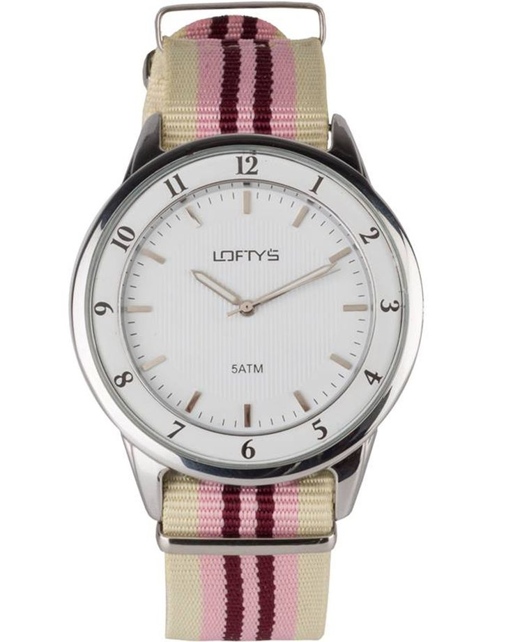 Watch with Multicolor Fabric Strap (Beige - Brown - Pink) Y 3404BP - https://www.loftyswatches.com/shop/watch-strap-beige-brown-pink-y-3404bp/