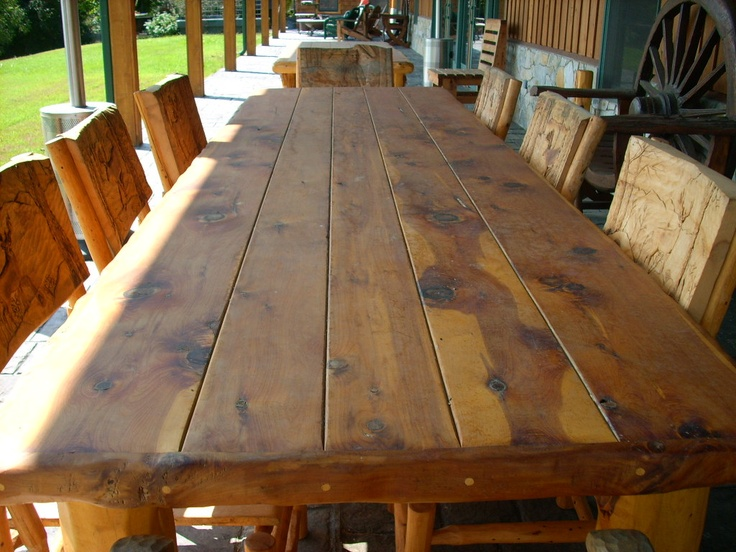 8 Ft Long Eastern Cedar Log Table Designed And Handcrafted By Roadside  Artist Rustic Charlie For
