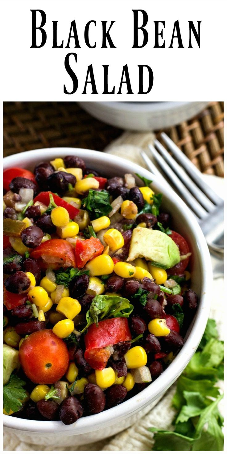 """Black Bean Salad- you'll make and eat it because it's so very good tasting, the """"good for you"""" part is a bonus. A great meatless meal alternative. via @https://www.pinterest.com/BunnysWarmOven/bunnys-warm-oven/"""