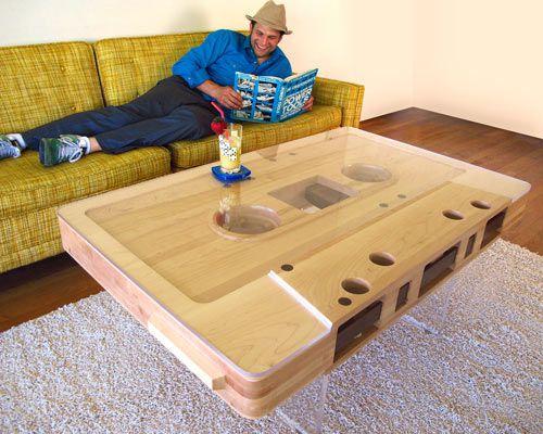 Mixtape Table by Jeff Skierka.: Mixtape Tables, Coffee Tables, Jeff Skierka, Tables Design, Cassette Tape, Wood Tables, Memorial Tables, Cassette Tables, Wooden Tables