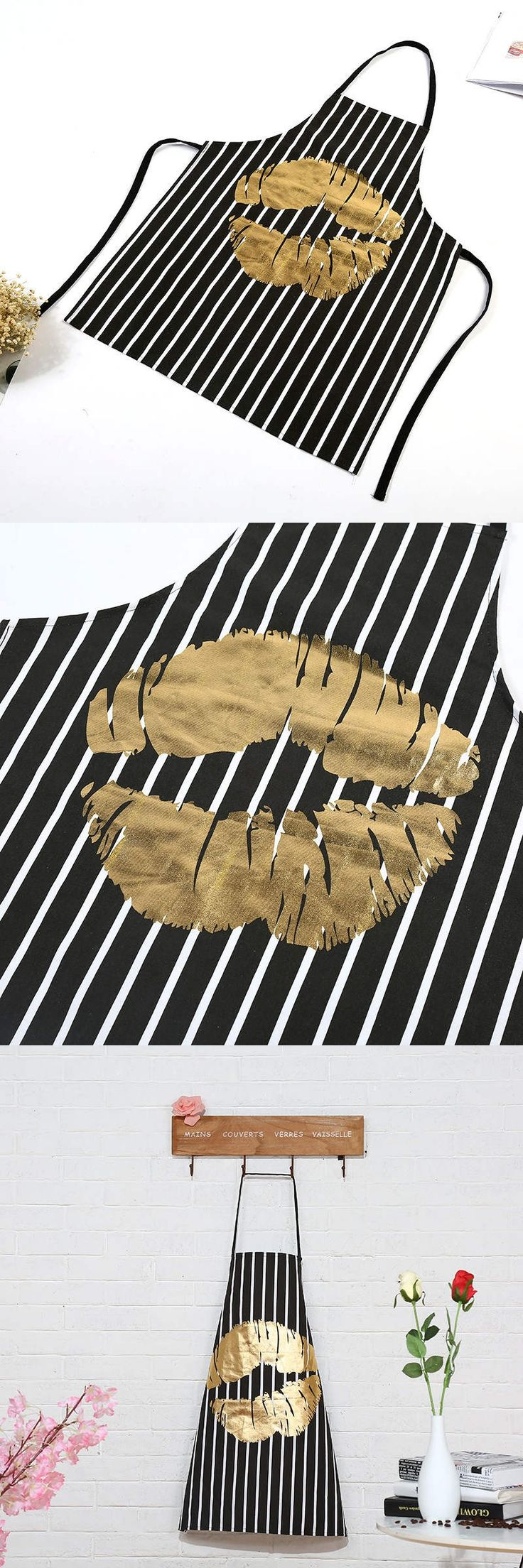 DoreenBeads Lips Striped Apron Kitchen Restaurant Cooking Waist Antifouling Sleeveless Apron Cleaning Tool Gold Color Black 1PC